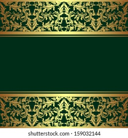 Luxury rifle-green Background decorated a golden ornamental Border.