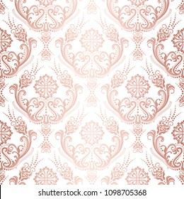 Luxury rose gold floral damask wallpaper isolated pattern. This image is a vector illustration.