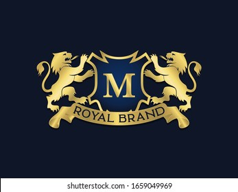 luxury Royal heraldic gold lions facing the shield vector logo template