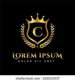 Luxury Royal Letter C crest Gold color Logo vector, Victory logo, crest logo, vector logo template