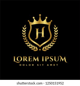 Luxury Royal Letter H or initial J and H crest Gold color Logo vector, Victory logo, crest logo, vector logo template