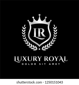 Luxury Royal Letter L and R crest silver color Logo vector, Victory logo, crest logo, vector logo template