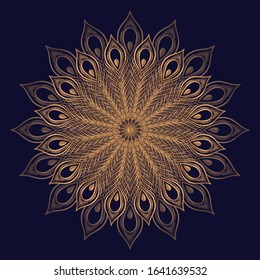 Luxury royal pattern mandala vector element. Ethnic peacock feather motif. Oriental indian design for beauty spa salon, christmas ornament, new year holiday card, wedding party invitation.