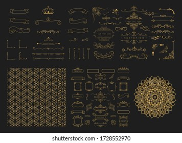 luxury Rule Lines and Ornaments - Set of vector text dividers and frame in gold. each element is grouped separately for easy editing.