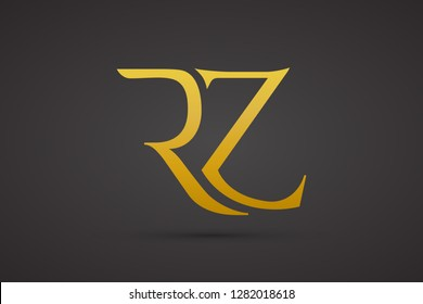 Luxury Rz R Z monogram Letters Logo Design with vector