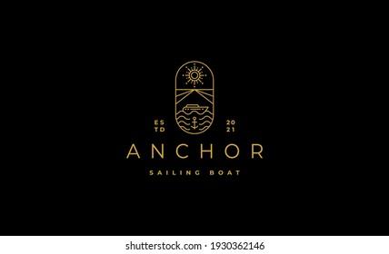 Luxury Sailing cruises logo badge line vectors