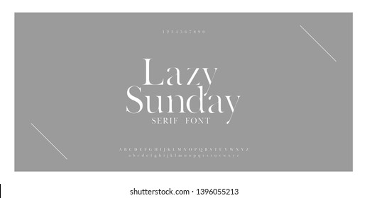 Luxury sans serif alphabet letters font and number. Classic Lettering Minimal Fashion Designs. Typography simple fonts uppercase and lowercase. vector illustration