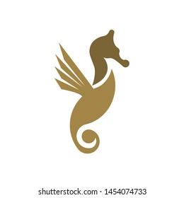 Luxury Sea Horse logo design template