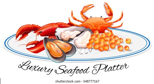 Luxury seafood on the plate illustration