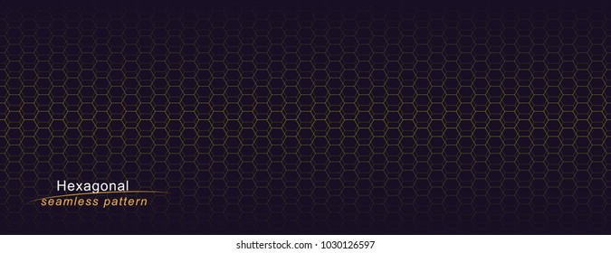 Luxury seamless geometric pattern. Grid hexagonal texture. Dark vector background.
