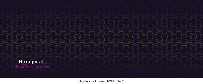 Luxury seamless geometric pattern. Grid Pink hexagonal texture. Dark vector background.