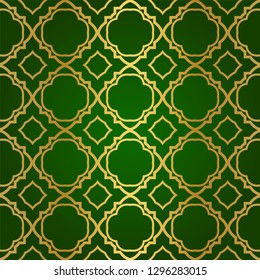 Luxury Seamless Geometrical Linear Texture. Original Geometrical Puzzle. Backdrop. Vector illustration. Green gold color. Design For Prints, Textile, Decor, Fabric