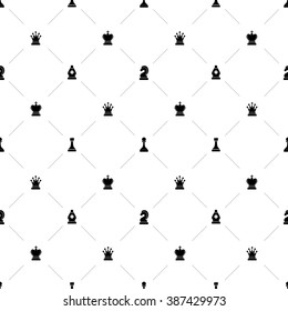 Luxury seamless pattern with chess symbols on white