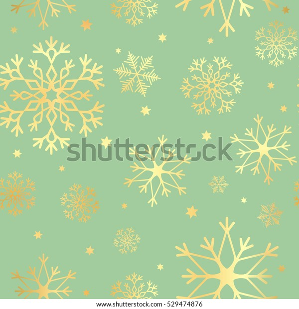Luxury seamless pattern with gold snowflakes on a green background. Christmas snowflakes background