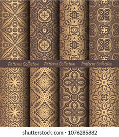 Luxury seamless patterns collection. Golden vintage design elements. Elegant weave ornament for wallpaper, fabric, paper, invitation print. Stylized damask vector background. Forged floral motif.