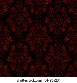 Luxury Seamless Vintage Gothic Pattern Damask Wallpaper Dark Background