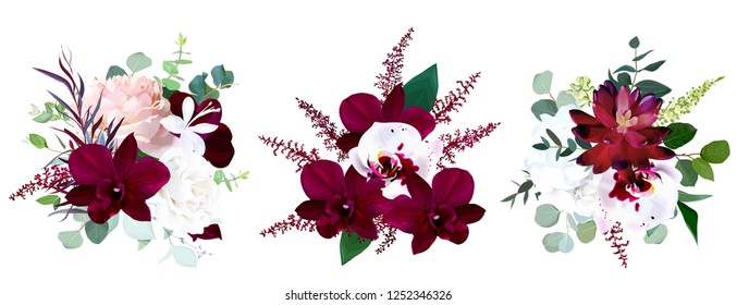Luxury seasonal vector bouquets. Dark orchid, garden rose, burgundy red succulent, ranunculus, astilbe, hydrangea, eucalyptus and greenery.Autumn winter wedding bunch of flowers.Isolated and editable.