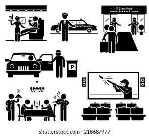 Luxury Services First Class Business VIP Stick Figure Pictogram Icons