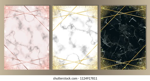 Luxury set on pink, white, black marble background. Gold glitter frames with geometric lines. A4 Templates with text place for greetind cards, gift prints and covers.