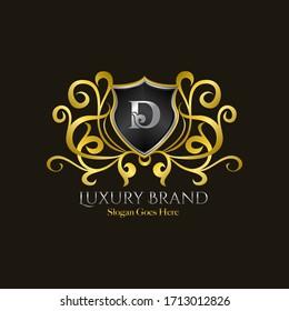 Luxury Shield Logo Letter D Golden Color Vector Design Concept Luxurious Royal Brand Identity.