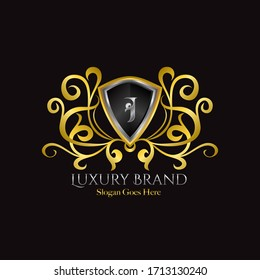 Luxury Shield Logo Letter J Golden Color Vector Design Concept Luxurious Royal Brand Identity.