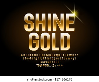 Luxury Shine  Font. Vector Golden Alphabet. Chic Letters, Numbers and Symbols