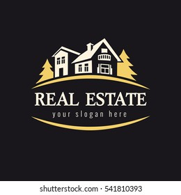 Luxury sign for real estate agency, building, lease house, insurance, invest or landscape design business. Real estate golden forest logo. Country house vector vintage symbol