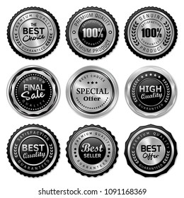 Luxury silver badge and label premium quality product