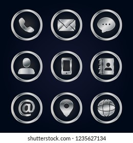 Luxury silver business contact icon