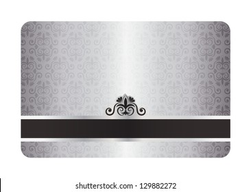 Luxury silver card with swirl pattern and black label