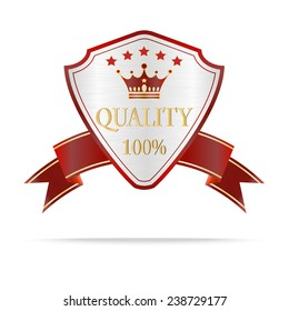 Luxury silver and red  quality shields label with ribbon.Vector illustration