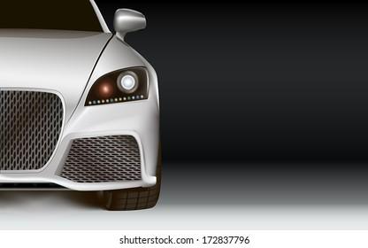 Luxury silver sport car. Left bottom half. Non-branded concept design. Dark background.