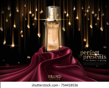 Luxury skin toner ads, premium glass bottle or perfume on scarlet satin isolated on bokeh light bulb background in 3d illustration