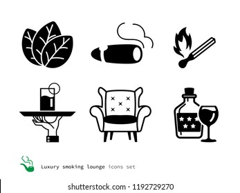 Luxury smoking lounge icons set