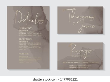 Luxury soft decor, dark grey wedding invitation cards with gold marble texture and geometric pattern minimal style vector design template. Cute invitation, party collection.