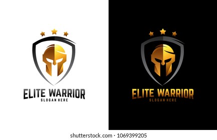 Luxury Sparta warrior helmet logo, Elite Warrior logo template designs