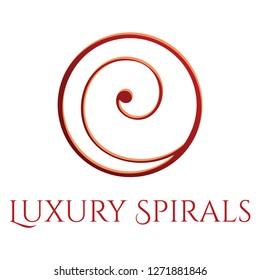 luxury spiral vector logo template, maori fern symbols