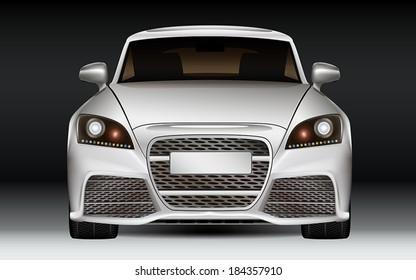 Luxury sports car, front view. Modern non-branded design concept. Dark Background.