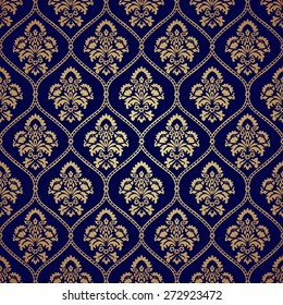 Luxury style gold and blue background. Seamless pattern texture with damask motif. Vector illustration