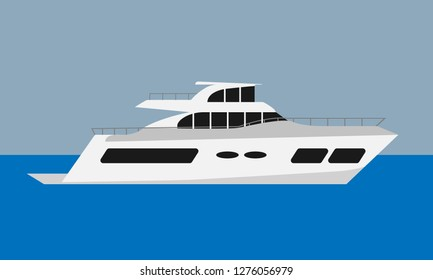 Luxury summer yacht. Flat color style vector illustration.