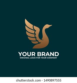 Luxury swan logo. Golden Goose logo design inspiration can be used as symbols, brand identity, company logo, icons, or others. Color and text can be changed.