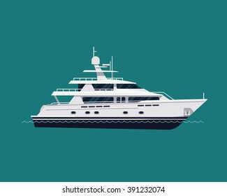 Luxury travel seaway transport vessel item on motor yacht, vector, flat design. White yacht boat, side view isolated. Water travel and tourism design element