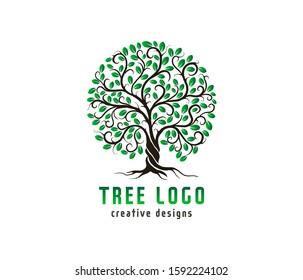 Luxury Tree logo design templates. vector isolated,  tree with round shape