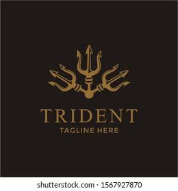 Luxury Trident Neptune God Poseidon Triton King Spear logo design
