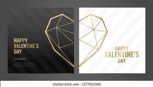 Luxury Valentines Day poster template with gold frame and black background. Invitation template. Geometric shape.