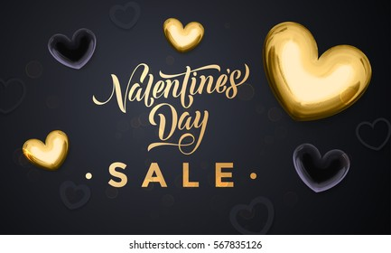 Luxury Valentines Day Sale banner with gold and black hearts on black background. Vector illustration