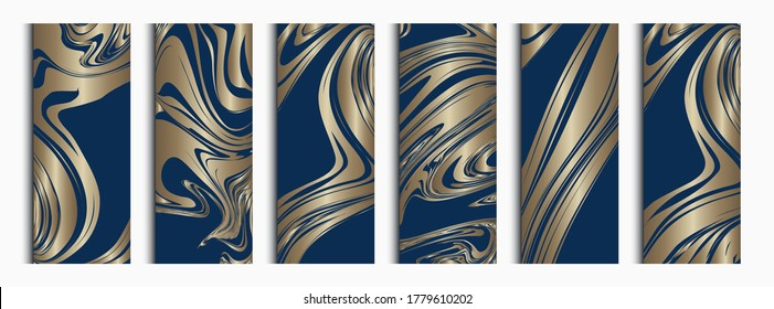 Luxury vector collection of abstract blue and gold backgrounds for banner or invitation card. Elegant mockups for perfume or wine packaging design. Marble effect and gold foil gradients.