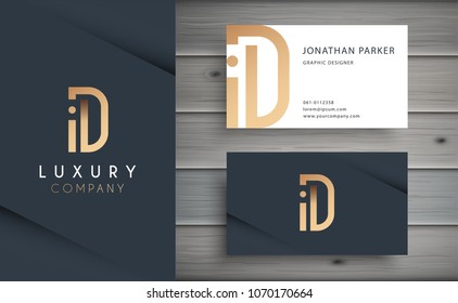 Luxury vector logotype with business card template. Premium letter D logo with golden design. Elegant corporate identity.
