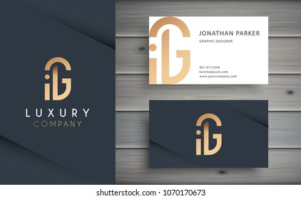 Luxury vector logotype with business card template. Premium letter G logo with golden design. Elegant corporate identity.
