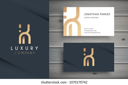 Luxury vector logotype with business card template. Premium letter K logo with golden design. Elegant corporate identity.